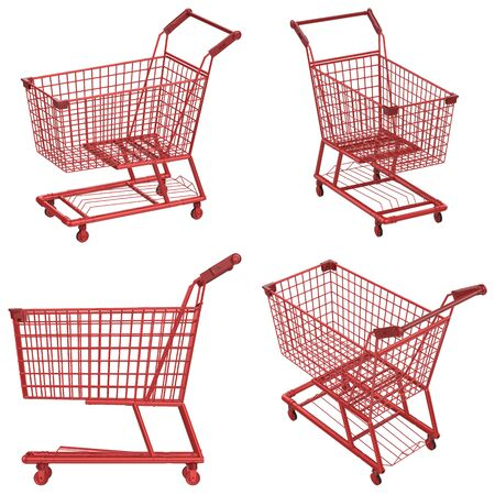 carrito de helados: 3d rendering empty red shopping cart