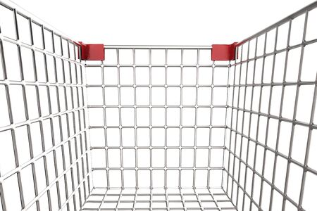 carretilla de mano: 3d rendering close up empty shopping cart