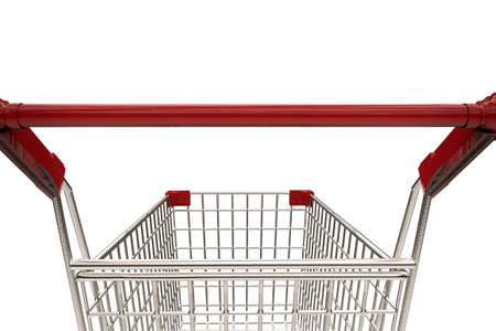 pushcart: 3d rendering close up empty shopping cart