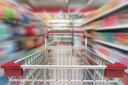 3d rendering shopping cart in supermarket alley