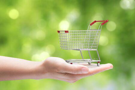 carretilla de mano: mano que sostiene la cesta de la compra en el fondo verde