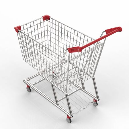 3d rendering empty shopping cart with red handle Stock Photo