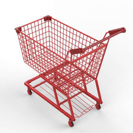 carretilla de mano: Las 3D de vac�o rojo carrito de la compra
