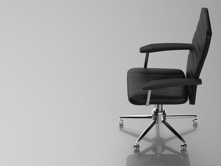 3d rendering cuir noir chaise de bureau Banque d'images