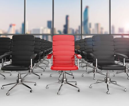differentiate: leadership concept with 3d rendering red office chair