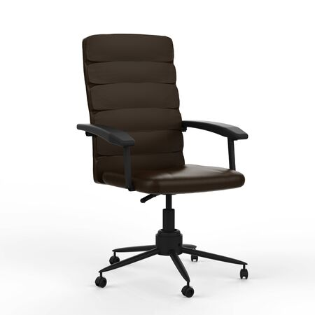 3d rendering black leather office chair on white background