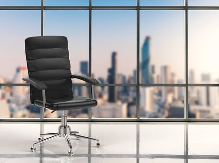 3d rendering office chair with cityscape background