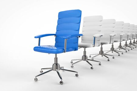 in differentiation: leadership concept with 3d rendering blue office chair in front of the row