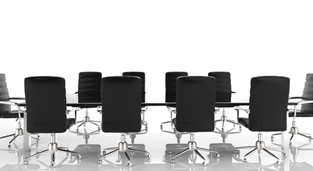 3d rendering empty conference table and office chairs