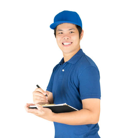 asian delivery man writing on notepad
