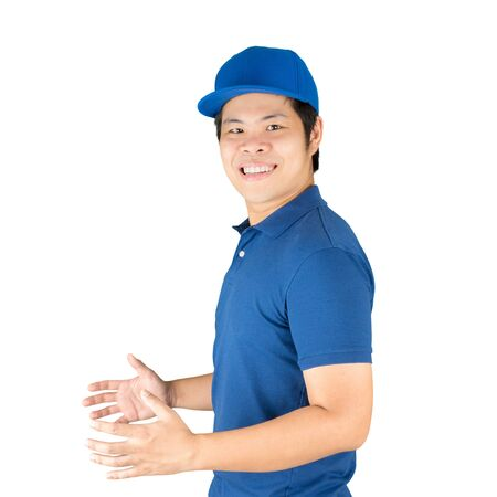 warehouseman: asian delivery man isolated on white
