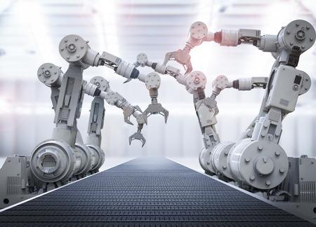 Representación 3D brazos robóticos con cinta transportadora vacía