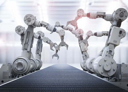 ingenieria industrial: Representación 3D brazos robóticos con cinta transportadora vacía Foto de archivo