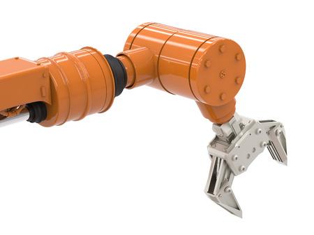 Representación 3d brazo robótico en el fondo blanco