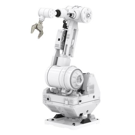 3d 흰색 배경에 로봇 팔을 렌더링 스톡 콘텐츠