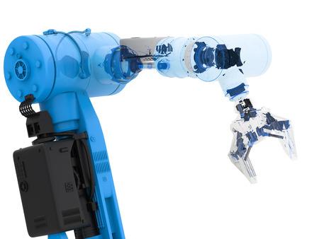 3d rendering blue wireframe robotic arm on white background Reklamní fotografie