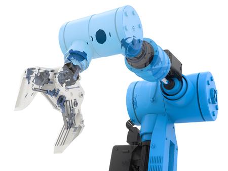Representación 3D alambre azul brazo robótico en el fondo blanco Foto de archivo