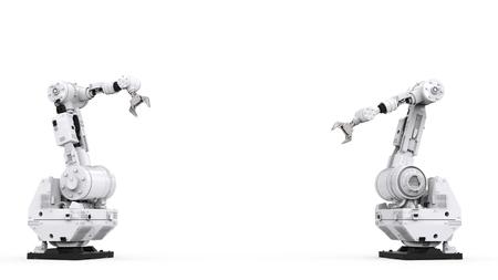 흰색 배경에 빈 공간으로 3D 로봇 렌더링 흰색 로봇 팔