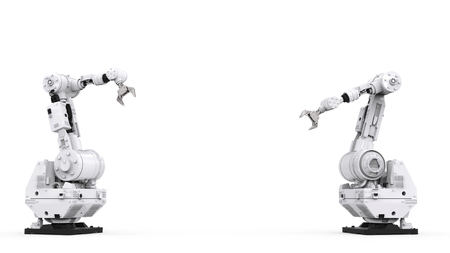 3d rendering white robotic arm with blank space on white background