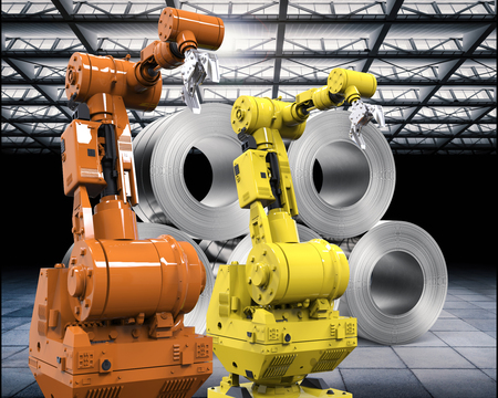 leaden: 3d rendering robotic arms with roll of steel sheets in factory