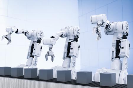 3d rendering white robotic arms with empty conveyor belt Reklamní fotografie