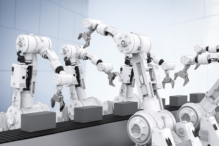 3 차원 빈 컨베이어 벨트와 흰색 로봇 팔을 렌더링