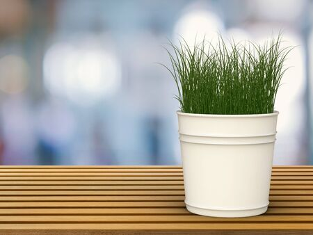earthen pot: 3d rendering green grass in pot plant on wooden table Stock Photo