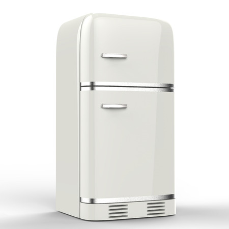 fridge: 3d rendering retro design fridge Stock Photo
