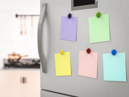 3d rendering notes vides sur le réfrigérateur