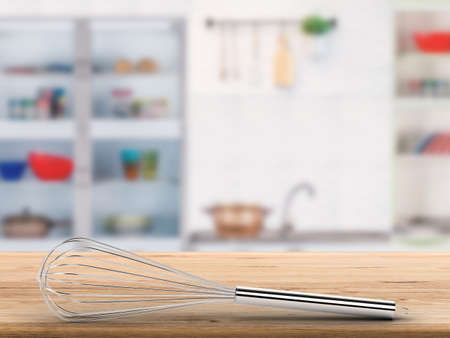 wire whisk: 3d rendering wire whisk on counter with kitchen background Stock Photo
