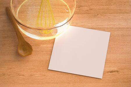 wire whisk: 3d rendering blank paper with wire whisk in a bowl Stock Photo