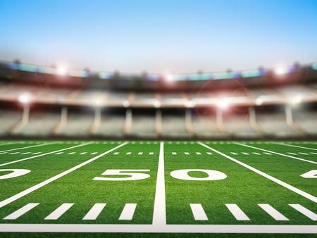 3d rendering empty american football stadium Archivio Fotografico