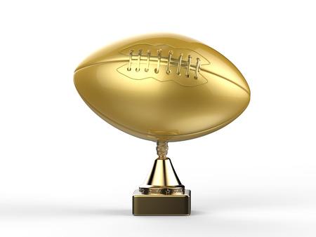3d rendering golden american football trophy Stock Photo
