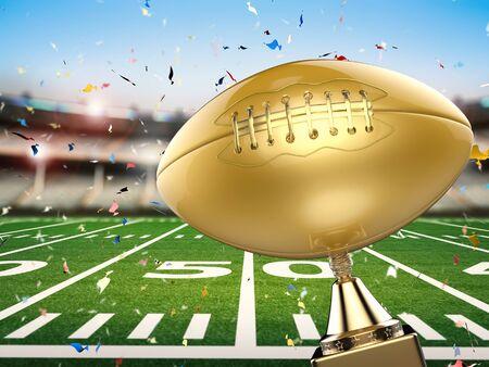 football trophy: 3d rendering golden american football trophy with football field background