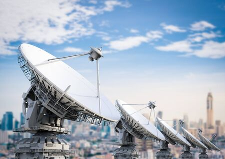 satellite 3d: 3d rendering satellite dish with blue sky background