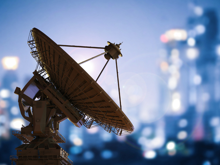 3d rendering satellite dish with cityscape background