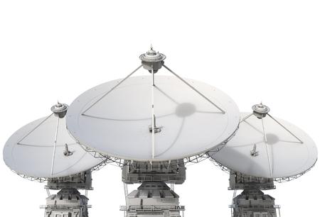 satellite dish: 3d prestación plato de satélite en el fondo blanco