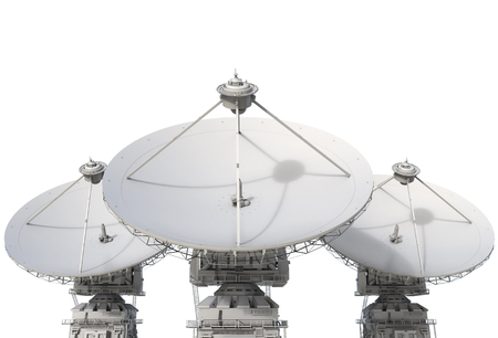 antena parabolica: 3d rendering satellite dish on white background