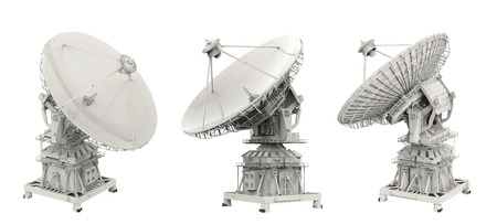 3d rendering satellite dish on white background