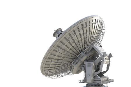 antena parabolica: 3d prestación plato de satélite en el fondo blanco