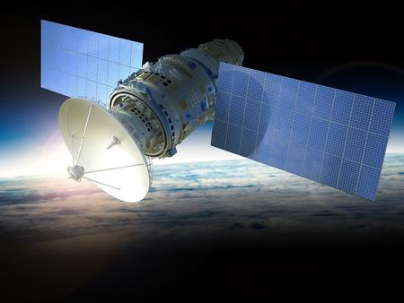 우주에서 3D 렌더링 인공위성