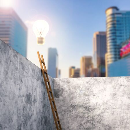 3d rendering ladder leaning on cement wall with shining light bulb above