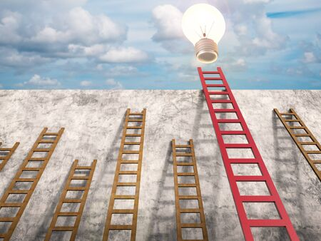 differentiation: leadership concept with 3d rendering red ladder with shining light bulb Stock Photo