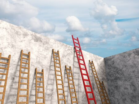 leadership concept with 3d rendering red ladder among brown ladders