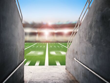 3d rendering arena tunnel with american football field blurred background
