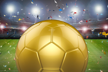 winning pitch: 3d rendering golden soccer ball with soccer stadium and confetti background