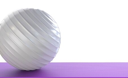3d rendering fitness ball on yoga mat Stock Photo