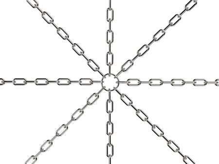 3d rendering chain connected from center Stock Photo