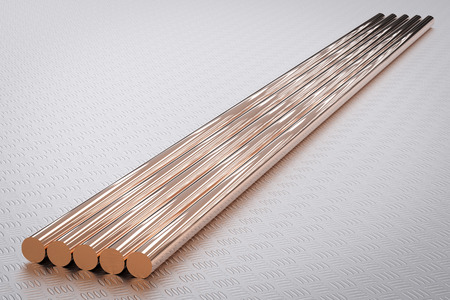 round rods: 3d rendering shiny copper pipes or bronze pipes