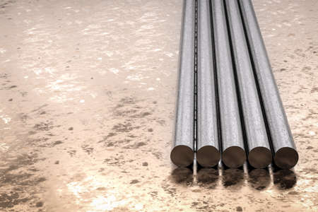 round rods: 3d rendering metal pipes